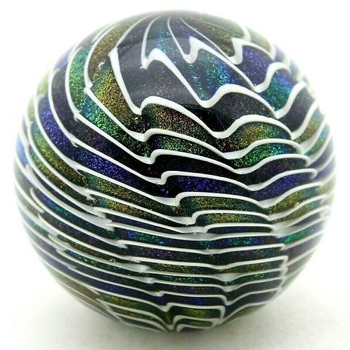 James Alloway Dichroic Abstract Design Art Glass Paperweight