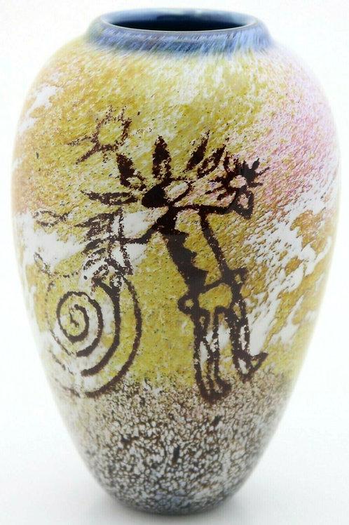 Satava Multicolored Goddess Petroglyph Art Glass Vase