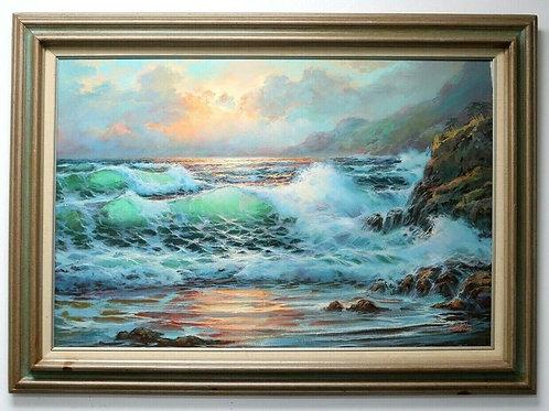 "Large Don Fairbanks Original ""Carmel Cape"" Seascape Oil Painting Framed"
