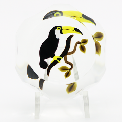Perthshire Exotic Toucan Art Glass Paperweight