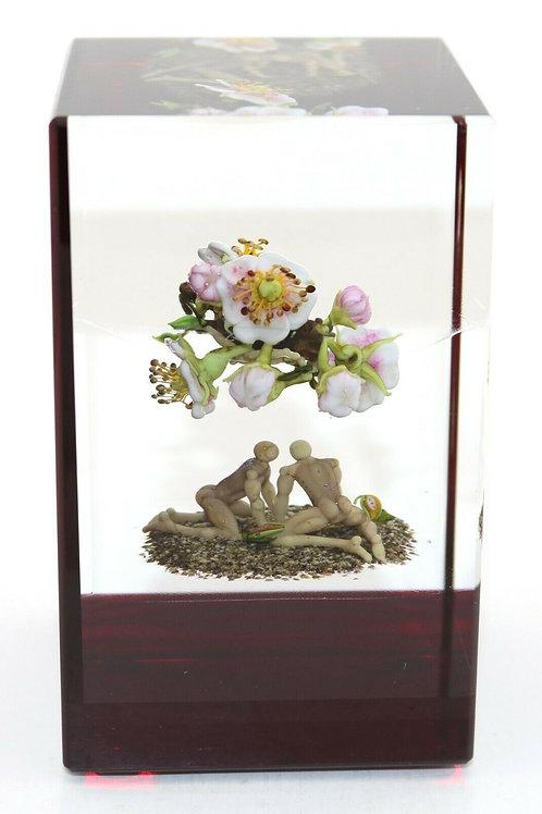 Paul Stankard Figures & Floating Flowers Art Glass Paperweight Block