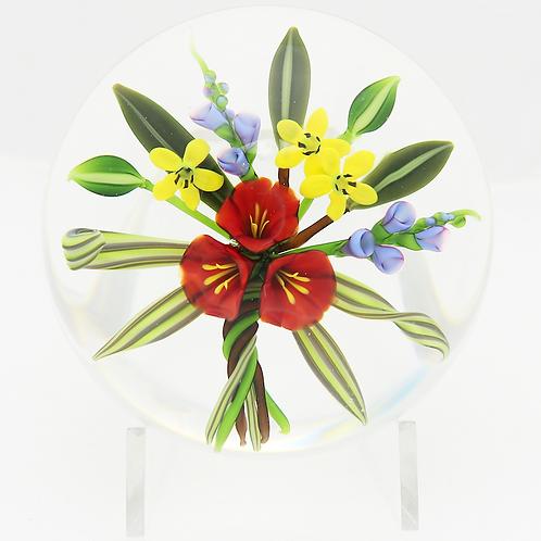 Chris Buzzini Botanical Flower Bouquet Art Glass Paperweight