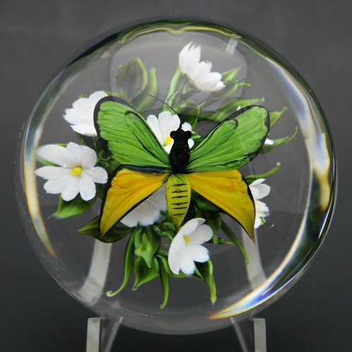 Rick Ayotte Paradisea Butterfly & Flowers Art Glass Paperweight