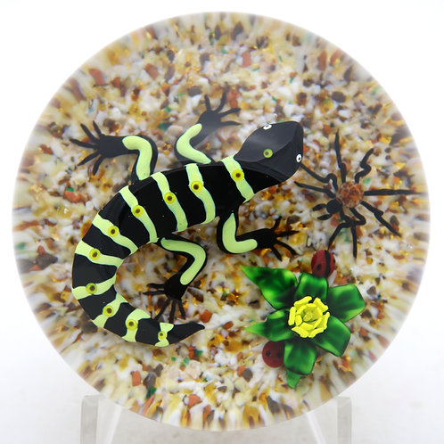 Bob Banford Vibrant Lizard Stalking Spider Art Glass Paperweight