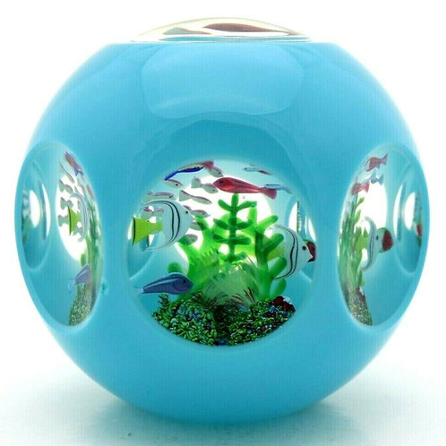 Limited Edition Saint Louis Tropical Fish Aquarium Art Glass Paperweight