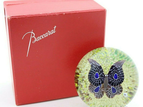 Vintage Baccarat Butterfly Art Glass Paperweight with Box