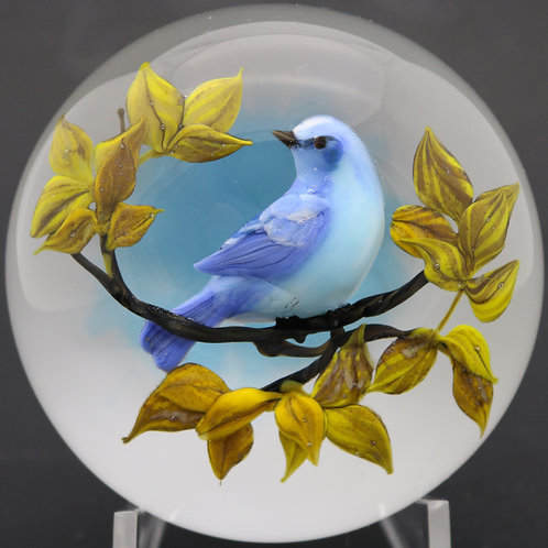 Rick Ayotte Vibrant Blue Bird On Branch Art Glass Paperweight