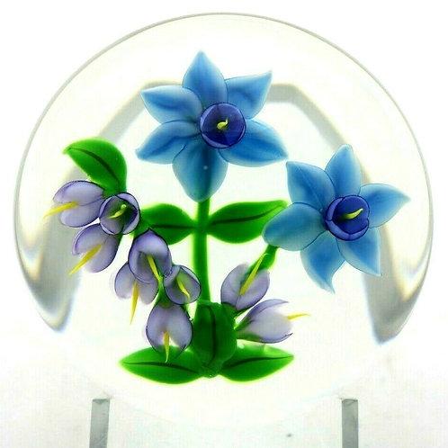 Randall Grubb 1987 Colorful Flower Bouquet Art Glass Paperweight