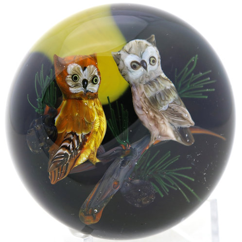Rick Ayotte Owls on Branch Under Full Moon Art Glass Paperweight