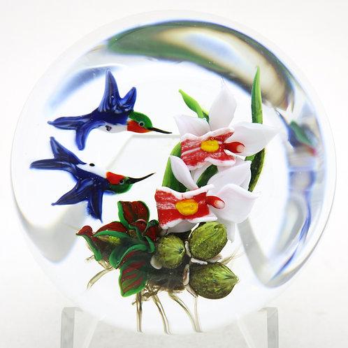 Rick Ayotte Artist Proof Hummingbirds Feeding on Flowers Art Glass Paperweight