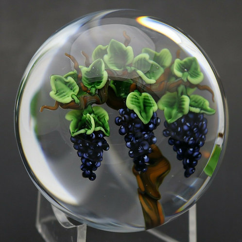 Randall Grubb Purple Concord Grapes Art Glass Paperweights