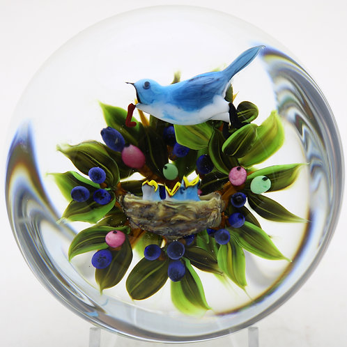Rick Ayotte Mother Bird Feeding Chicks Art Glass Paperweight