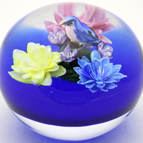 """Rick Ayotte Colorful """"Jewel of the Pampas"""" Art Glass Paperweight"""