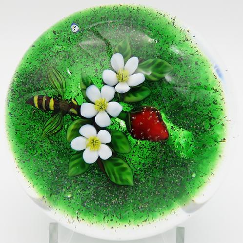 Delmo Tarsitano Colourful Bee & Strawberry Art Glass Paperweight