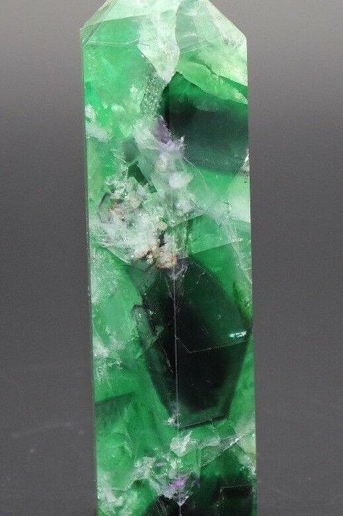 Natural Green Fluorite Point Crystal Obelisk