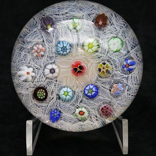 Parabelle Flower Millefiori and Latticino Art Glass Paperweigh