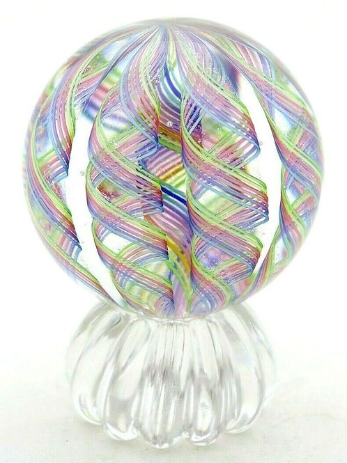 James Alloway Colorful Twisted Ribbon Art Glass Marble