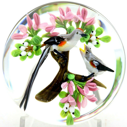 Rick Ayotte Pair of Scissor Tail Flycatcher Birds Art Glass Paperweight