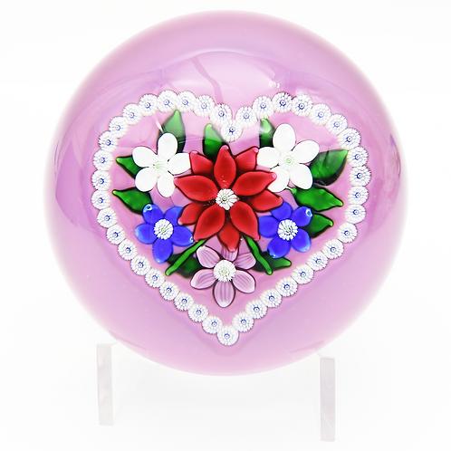 Saint Louis Floral Valentine Bouquet Art Glass Paperweight Boxed & COA