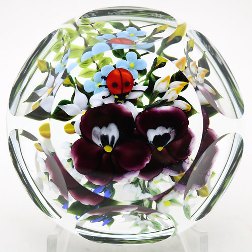 Rick Ayotte Multifaceted Pansies & Ladybug Art Glass Paperweight