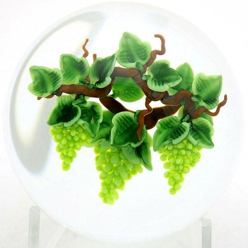 Randall Grubb Green Grapes & Chardonnay Art Glass Paperweight