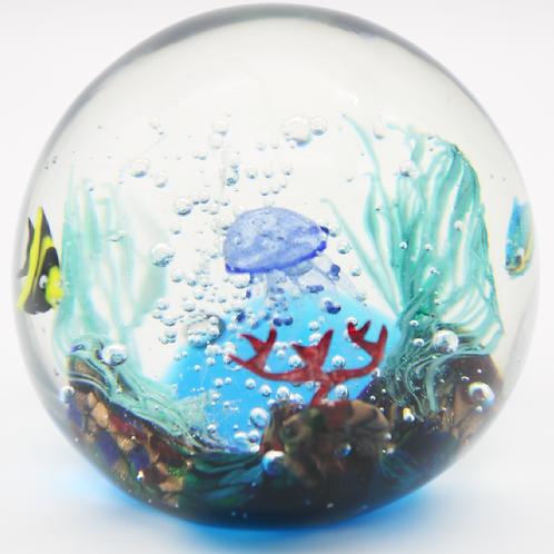 Elio Raffaeli Murano Fish Jellyfish Aquarium Art Glass Paperweight Orb