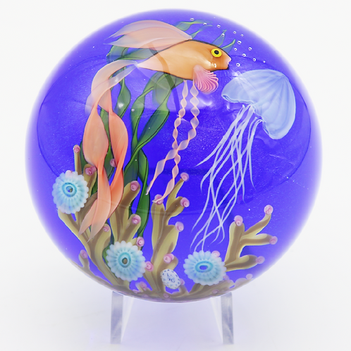 Steven Lundberg Studio Fish Aquarium Jellyfish Art Glass Paperweight