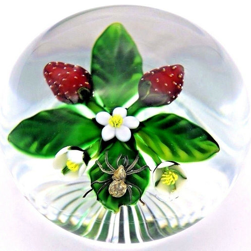 Delmo Tarsitano Spider & Strawberry Blooms Art Glass Paperweight