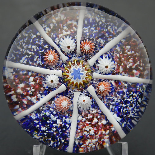 Antique Saint Louis Paneled Jasper Ground Art Glass Paperweight