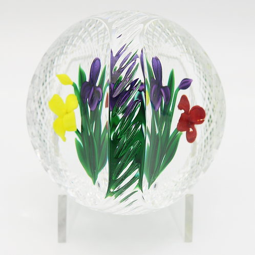 Bob Banford Floral Orchid Bouquet Diamond Cut Basket Art Glass Paperweigh