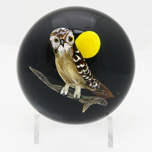 Rick Ayotte Nocturnal Owl with Moon Studio Art Glass Paperweight