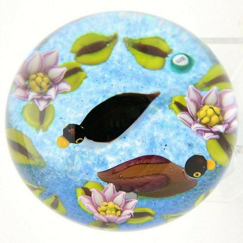 William Manson Waterlilies & Duck Pond Art Glass Paperweight