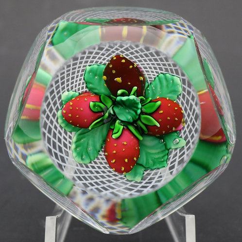 Saint Louis Faceted Strawberries Art Glass Paperweight Box with COA