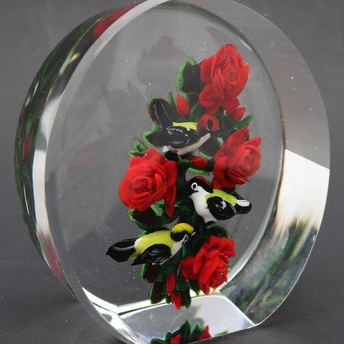 Rick Ayotte Red Rose Bush & Birds Art Glass Sculpture