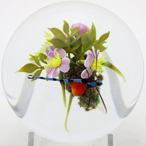 Paul Stankard Colorful Dragonfly & Flower Bouquet Art Glass Paperweight