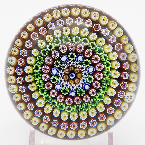 Vintage Baccarat Showy Concentric Millefiori Cane Art Glass Paperweight