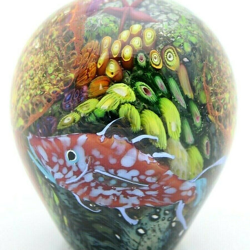 Peter Raos Pacific Tropical Fish & Reef Aquarium Art Glass Paperweight