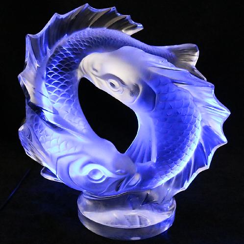 Lalique France Deux Poisson Koi Fish Pisces Art Glass Paperweight Sculpture