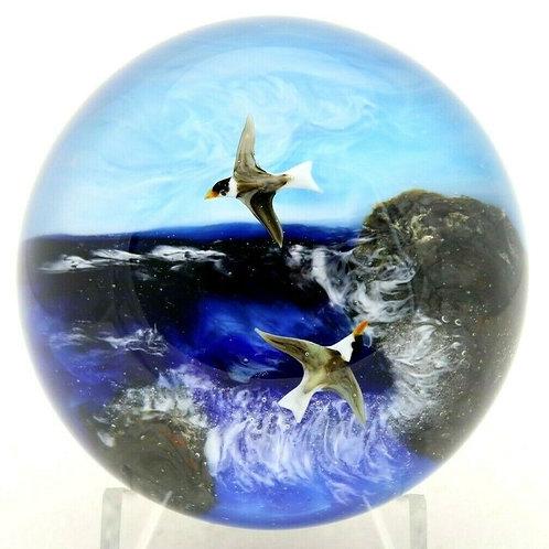 Rick Ayotte Detailed Seascape & Seagulls Art Glass Paperweight