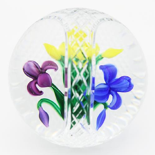 Bob Banford  Gingham Cut Basket Iris Bouquet Art Glass Paperweight