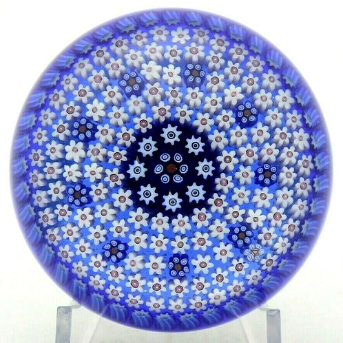 Parabelle Blue Concentric Millefiori & Torsade Art Glass Paperweight