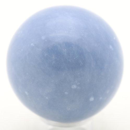 """Natural Angelite Polished Sphere Mineral Specimen 2.1"""" Marble"""