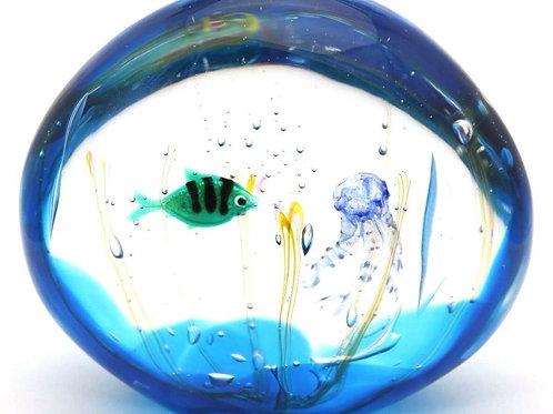 Elio Raffaeli Fish & Jellyfish Aquarium Art Glass Murano, Italy Sculpture