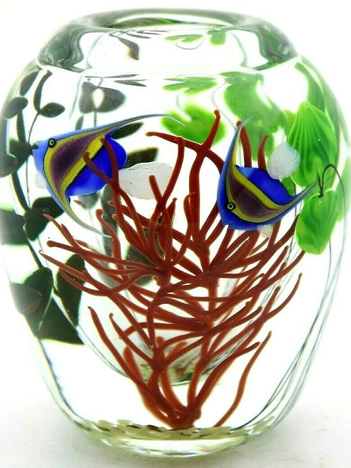 Lundberg Studios Vivid Tropical Fish Aquarium Art Glass Vase