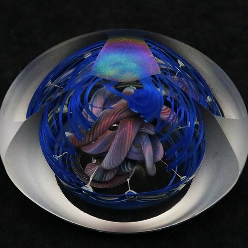 Henry Summa Sculpture Abstract Art Glass Paperweight with LED Base