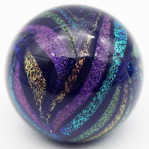 Glass Eye Studio Metallic Glitter Swirl Art Glass Paperweight