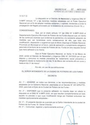 DECRETO MUNICIPAL Nº7 - IMTP - 2020