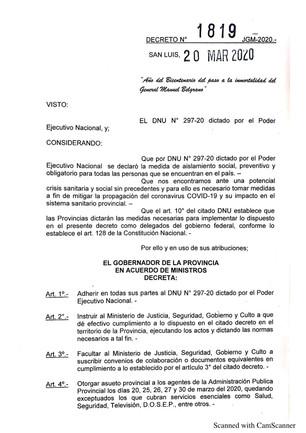 DECRETO DE AISLAMIENTO PREVENTIVO Y OBLIGATORIO DE LA PROVINCIA DE SAN LUIS  (DNU 297 - 20)
