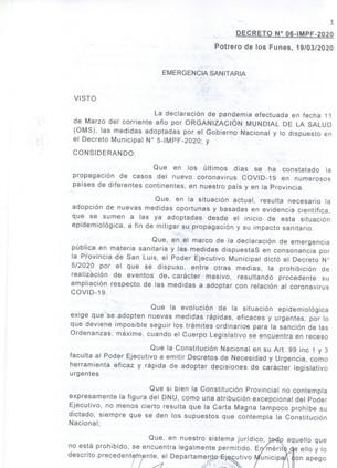 MUNICIPALIDAD DE POTRERO DE LOS FUNES - DECRETO Nº6 - IMTP-2020