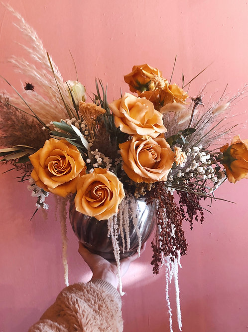 Fresh and Dried Floral Arrangement in Glass